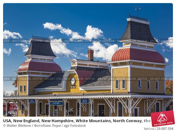 Купить «USA, New England, New Hampshire, White Mountains, North Conway, the North Conway Train Station.», фото № 29087594, снято 31 октября 2017 г. (c) age Fotostock / Фотобанк Лори