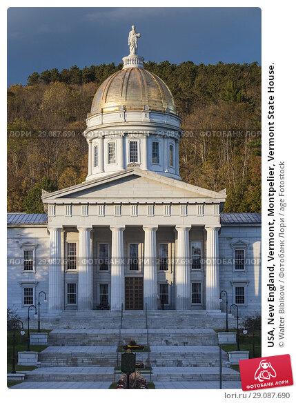 Купить «USA, New England, Vermont, Montpelier, Vermont State House.», фото № 29087690, снято 4 октября 2017 г. (c) age Fotostock / Фотобанк Лори