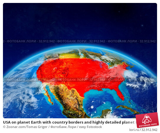 USA on planet Earth with country borders and highly detailed planet surface and clouds. 3D illustration. Elements of this image furnished by NASA. Стоковое фото, фотограф Zoonar.com/Tomas Griger / easy Fotostock / Фотобанк Лори