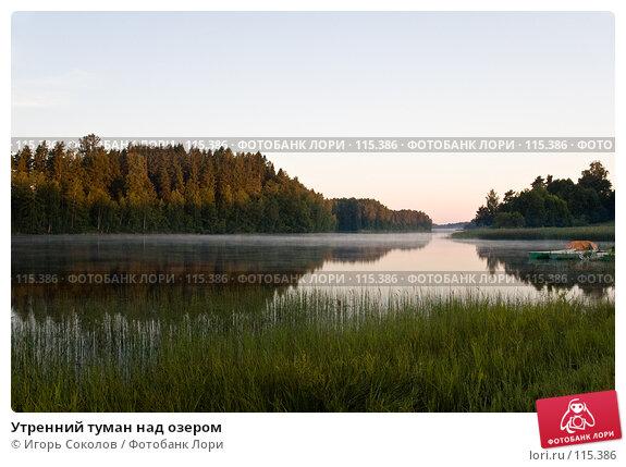 Утренний туман над озером, фото № 115386, снято 10 июля 2005 г. (c) Игорь Соколов / Фотобанк Лори