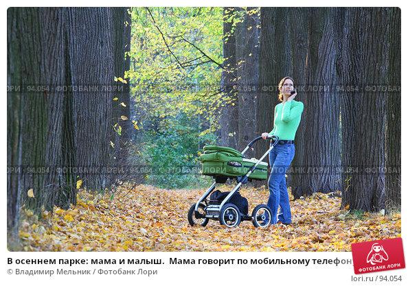 В осеннем парке: мама и малыш.  Мама говорит по мобильному телефону, фото № 94054, снято 30 сентября 2007 г. (c) Владимир Мельник / Фотобанк Лори