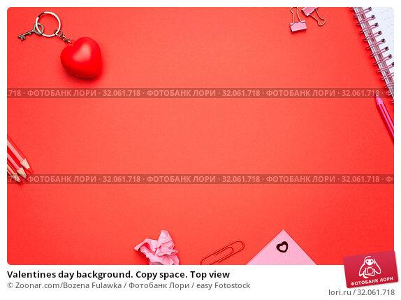 Valentines day background. Copy space. Top view. Стоковое фото, фотограф Zoonar.com/Bozena Fulawka / easy Fotostock / Фотобанк Лори