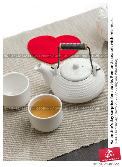 Купить «Valentine's day surprice for couple. Romantic tea set with red heart», фото № 28483554, снято 19 декабря 2012 г. (c) Ingram Publishing / Фотобанк Лори