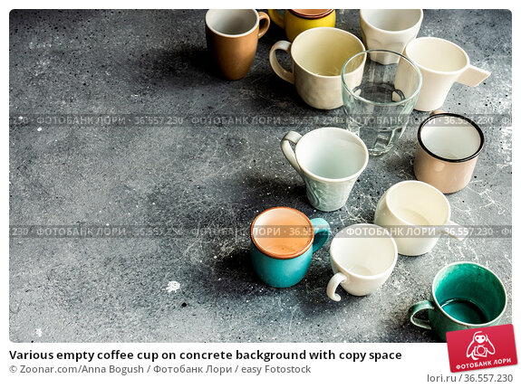 Various empty coffee cup on concrete background with copy space. Стоковое фото, фотограф Zoonar.com/Anna Bogush / easy Fotostock / Фотобанк Лори