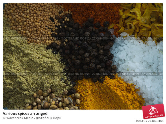 Various spices arranged, фото № 27069486, снято 5 июня 2017 г. (c) Wavebreak Media / Фотобанк Лори