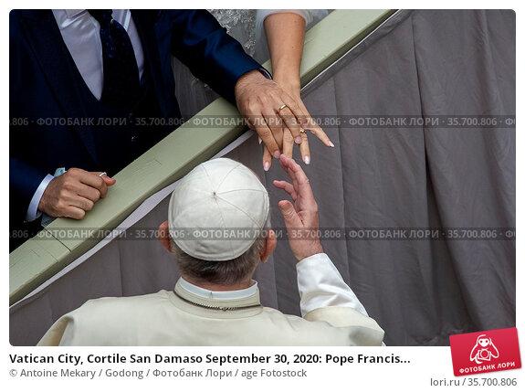 Vatican City, Cortile San Damaso September 30, 2020: Pope Francis... Стоковое фото, фотограф Antoine Mekary / Godong / age Fotostock / Фотобанк Лори