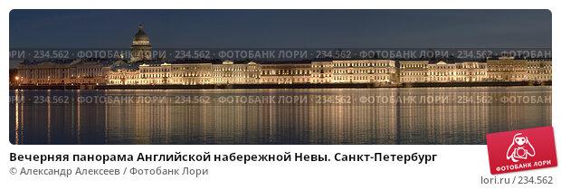 Вечерняя панорама Английской набережной Невы. Санкт-Петербург, эксклюзивное фото № 234562, снято 12 января 2007 г. (c) Александр Алексеев / Фотобанк Лори