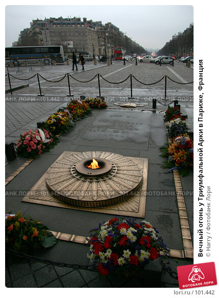 Вечный огонь у Триумфальной Арки в Париже, Франция, фото № 101442, снято 21 февраля 2006 г. (c) Harry / Фотобанк Лори