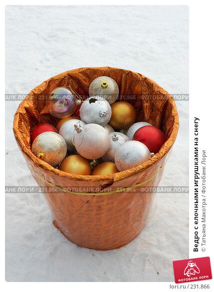 Ведро с елочными игрушками на снегу, фото № 231866, снято 27 декабря 2007 г. (c) Татьяна Макотра / Фотобанк Лори