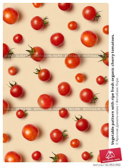 Vegetable pattern with ripe fresh organic cherry tomatoes. Стоковое фото, фотограф Ярослав Данильченко / Фотобанк Лори