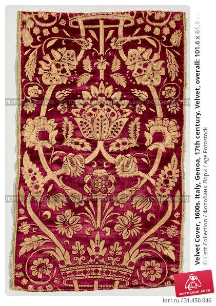 Velvet Cover, 1600s. Italy, Genoa, 17th century. Velvet, overall: 101.6 x 61.6 cm (40 x 24 1/4 in.). (2019 год). Редакционное фото, фотограф Liszt Collection / age Fotostock / Фотобанк Лори