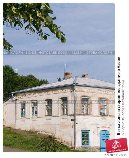 Купить «Ветка липы и старинное здание в Азове», фото № 112638, снято 12 июня 2006 г. (c) Борис Панасюк / Фотобанк Лори