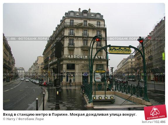 Вход в станцию метро в Париже. Мокрая дождливая улица вокруг., фото № 102486, снято 28 октября 2016 г. (c) Harry / Фотобанк Лори