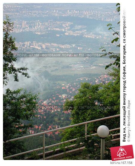 Вид на, лежащий внизу город София, Болгария, со смотровой площадке на горе Витоша, фото № 67158, снято 22 июня 2004 г. (c) Harry / Фотобанк Лори