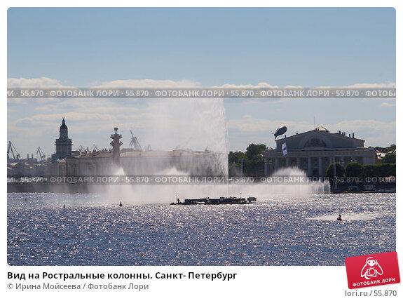 Вид на Ростральные колонны. Санкт- Петербург, эксклюзивное фото № 55870, снято 24 июня 2006 г. (c) Ирина Мойсеева / Фотобанк Лори