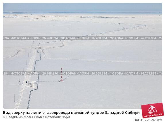 Вид сверху на линию газопровода в зимней тундре Западной Сибири, фото № 26268894, снято 29 марта 2017 г. (c) Владимир Мельников / Фотобанк Лори