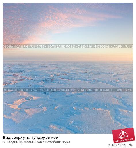Вид сверху на тундру зимой, фото № 7143786, снято 23 января 2015 г. (c) Владимир Мельников / Фотобанк Лори