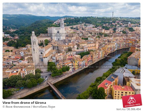 Купить «View from drone of Girona», фото № 30306454, снято 28 мая 2018 г. (c) Яков Филимонов / Фотобанк Лори