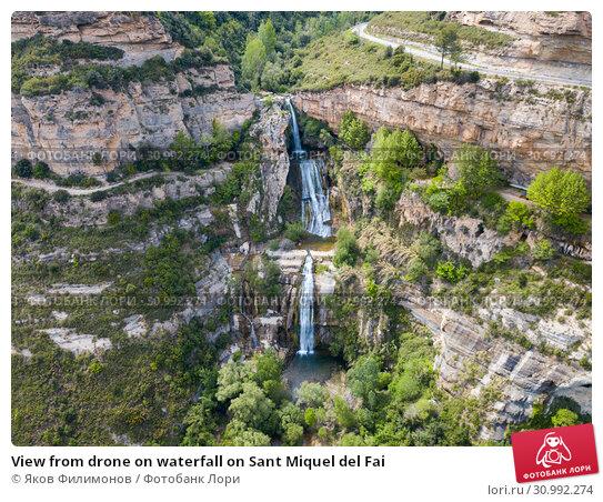 Купить «View from drone on waterfall on Sant Miquel del Fai», фото № 30992274, снято 5 мая 2018 г. (c) Яков Филимонов / Фотобанк Лори