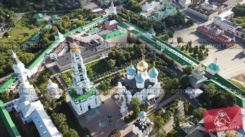 Купить «View from drones of churches in Trinity Lavra of St. Sergius Monastery, Sergiyev Posad», видеоролик № 30780870, снято 28 июня 2018 г. (c) Яков Филимонов / Фотобанк Лори