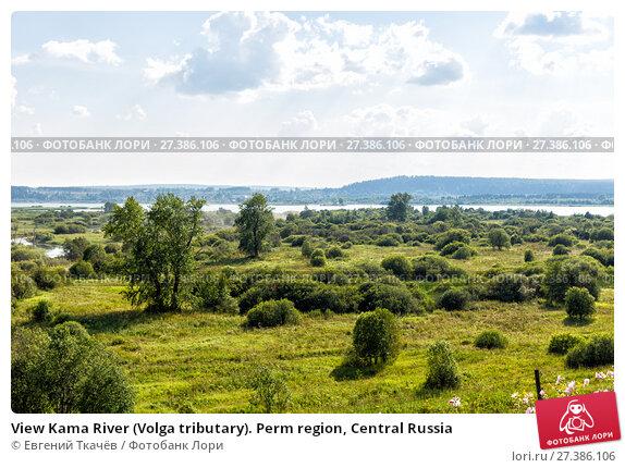 Купить «View Kama River (Volga tributary). Perm region, Central Russia», фото № 27386106, снято 6 августа 2014 г. (c) Евгений Ткачёв / Фотобанк Лори