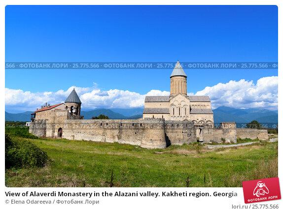 Купить «View of Alaverdi Monastery in the Alazani valley. Kakheti region. Georgia», фото № 25775566, снято 18 сентября 2016 г. (c) Elena Odareeva / Фотобанк Лори