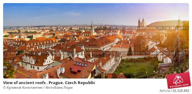 View of ancient roofs . Prague. Czech Republic, фото № 26328882, снято 15 сентября 2014 г. (c) Куликов Константин / Фотобанк Лори