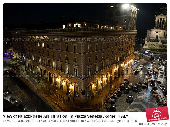 View of Palazzo delle Assicurazioni in Piazza Venezia ,Rome, ITALY... Редакционное фото, фотограф Maria Laura Antonelli / AGF/Maria Laura Antonelli / age Fotostock / Фотобанк Лори