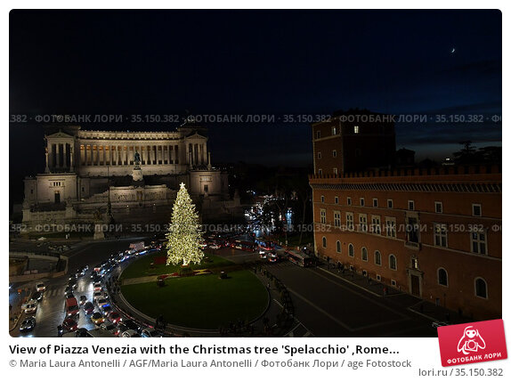 View of Piazza Venezia with the Christmas tree 'Spelacchio' ,Rome... Редакционное фото, фотограф Maria Laura Antonelli / AGF/Maria Laura Antonelli / age Fotostock / Фотобанк Лори