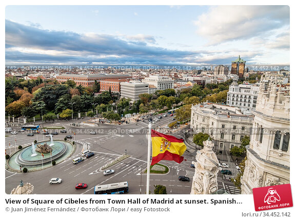 View of Square of Cibeles from Town Hall of Madrid at sunset. Spanish... Стоковое фото, фотограф Juan Jiménez Fernández / easy Fotostock / Фотобанк Лори