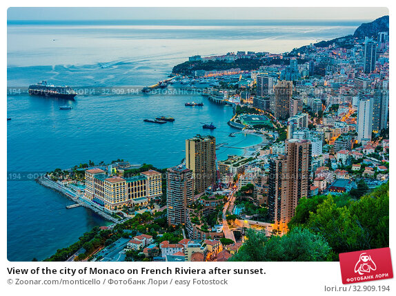 View of the city of Monaco on French Riviera after sunset. Стоковое фото, фотограф Zoonar.com/monticello / easy Fotostock / Фотобанк Лори