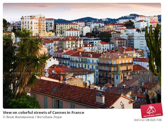 Купить «View on colorful streets of Cannes in France», фото № 28023134, снято 3 декабря 2017 г. (c) Яков Филимонов / Фотобанк Лори