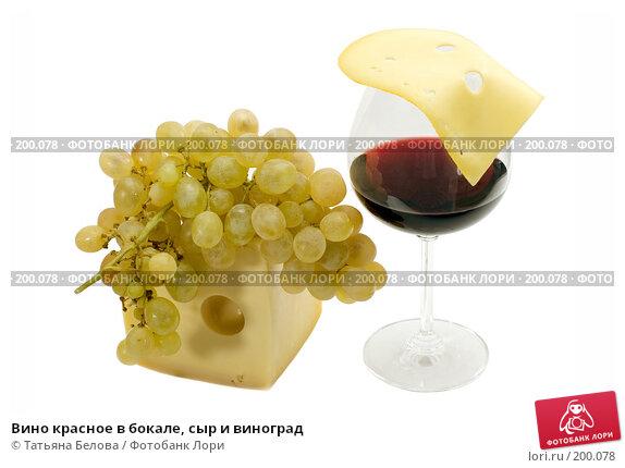 Вино красное в бокале, сыр и виноград, фото № 200078, снято 14 января 2008 г. (c) Татьяна Белова / Фотобанк Лори