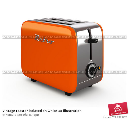 Купить «Vintage toaster isolated on white 3D illustration», иллюстрация № 24992862 (c) Hemul / Фотобанк Лори