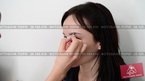 Купить «visagiste paints eyebrows young dark-haired girls», видеоролик № 28169418, снято 14 марта 2018 г. (c) Володина Ольга / Фотобанк Лори