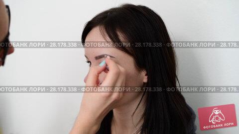 Купить «visagiste paints eyebrows young dark-haired girls», видеоролик № 28178338, снято 14 марта 2018 г. (c) Володина Ольга / Фотобанк Лори