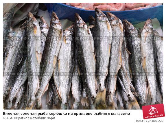 Купить «Вяленая соленая рыба корюшка на прилавке рыбного магазина», фото № 28807222, снято 20 мая 2018 г. (c) А. А. Пирагис / Фотобанк Лори