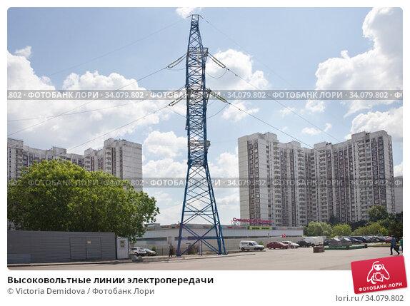 Купить «Высоковольтные линии электропередачи», фото № 34079802, снято 24 июня 2020 г. (c) Victoria Demidova / Фотобанк Лори