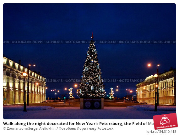 Walk along the night decorated for New Year's Petersburg, the Field of Mars and the New Year tree at Trinity Bridge. Стоковое фото, фотограф Zoonar.com/Sergei Aleliukhin / easy Fotostock / Фотобанк Лори