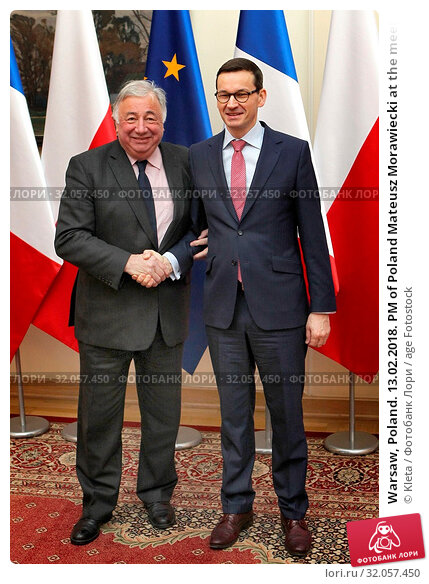 Warsaw, Poland. 13.02.2018. PM of Poland Mateusz Morawiecki at the meeting with Gerard Larcher. Редакционное фото, фотограф Kleta / age Fotostock / Фотобанк Лори