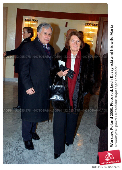 Warsaw, Poland 2003. Pictured: Lech Kaczynski and his wife Maria. Редакционное фото, фотограф wodzynski pawel / age Fotostock / Фотобанк Лори
