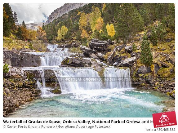 Waterfall of Gradas de Soaso, Ordesa Valley, National Park of Ordesa and Monte Perdido, Huesca, Spain. Стоковое фото, фотограф Xavier Forés & Joana Roncero / age Fotostock / Фотобанк Лори