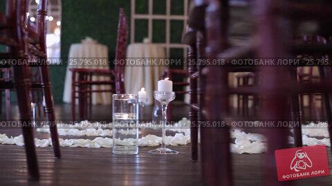 Купить «Wedding ceremony decoration indoors», видеоролик № 25795018, снято 14 марта 2016 г. (c) Алексей Макаров / Фотобанк Лори