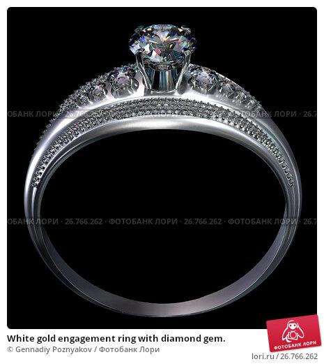 Купить «White gold engagement ring with diamond gem.», иллюстрация № 26766262 (c) Gennadiy Poznyakov / Фотобанк Лори