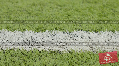 Купить «White line of the soccer field. Close-up horizontal slider shot», видеоролик № 29625954, снято 2 октября 2018 г. (c) Dzmitry Astapkovich / Фотобанк Лори