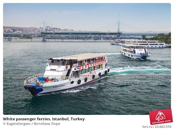 Купить «White passenger ferries. Istanbul, Turkey», фото № 23663510, снято 28 июня 2016 г. (c) EugeneSergeev / Фотобанк Лори