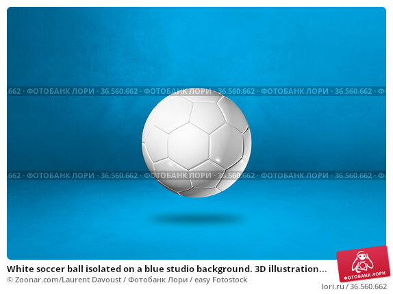 White soccer ball isolated on a blue studio background. 3D illustration... Стоковое фото, фотограф Zoonar.com/Laurent Davoust / easy Fotostock / Фотобанк Лори
