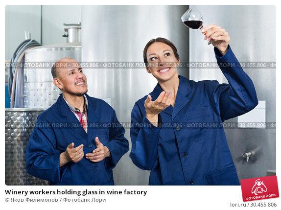 Winery workers holding glass in wine factory. Стоковое фото, фотограф Яков Филимонов / Фотобанк Лори