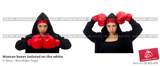 Woman boxer isolated on the white. Стоковое фото, фотограф Elnur / Фотобанк Лори