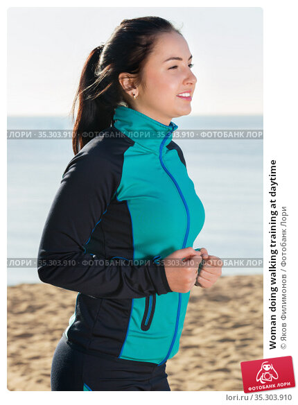 Woman doing walking training at daytime. Стоковое фото, фотограф Яков Филимонов / Фотобанк Лори